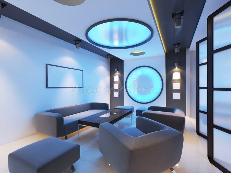 在酸蓝色的未来派当代内部咖啡馆 向量例证