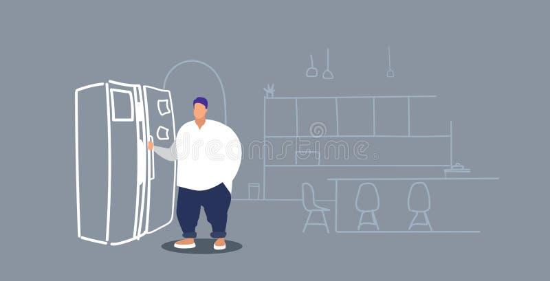 在采取在冰箱的冰箱肥胖肥胖人附近的饥饿的超重人身分食物在大小概念现代厨房 向量例证