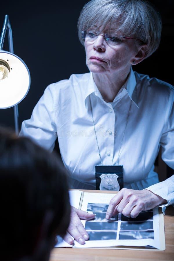 在采访中的成熟女性委员 库存照片