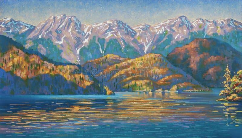 在里察湖的秋天晚上 作者:尼可拉Sivenkov 库存例证