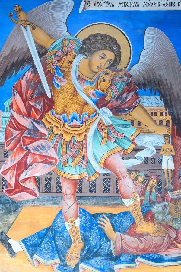 在里拉修道院,保加利亚的壁画 免版税库存图片