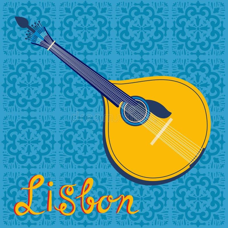 在里斯本地图的葡萄牙忧伤吉他和 库存例证
