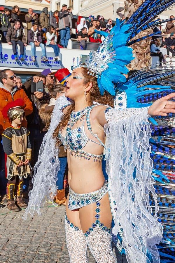 在里约热内卢样式Carnaval游行的Passista 图库摄影