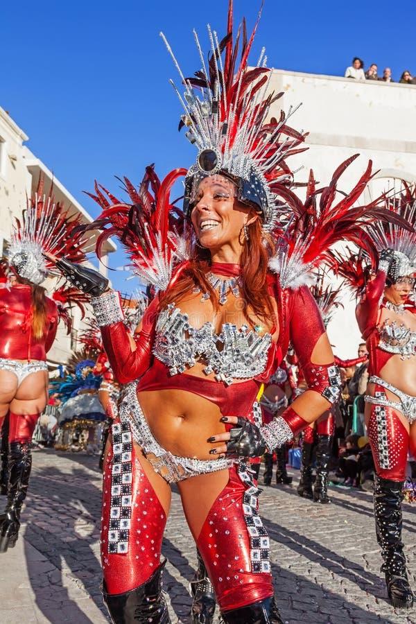 在里约热内卢样式Carnaval游行的Passista 库存图片