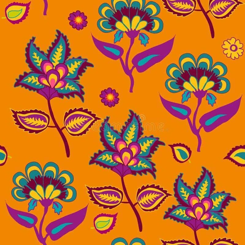 在重复样式居住的珊瑚和绿松石颜色的橙色阿拉伯帕斯利backround的印度Kalamkari无缝的样式 皇族释放例证