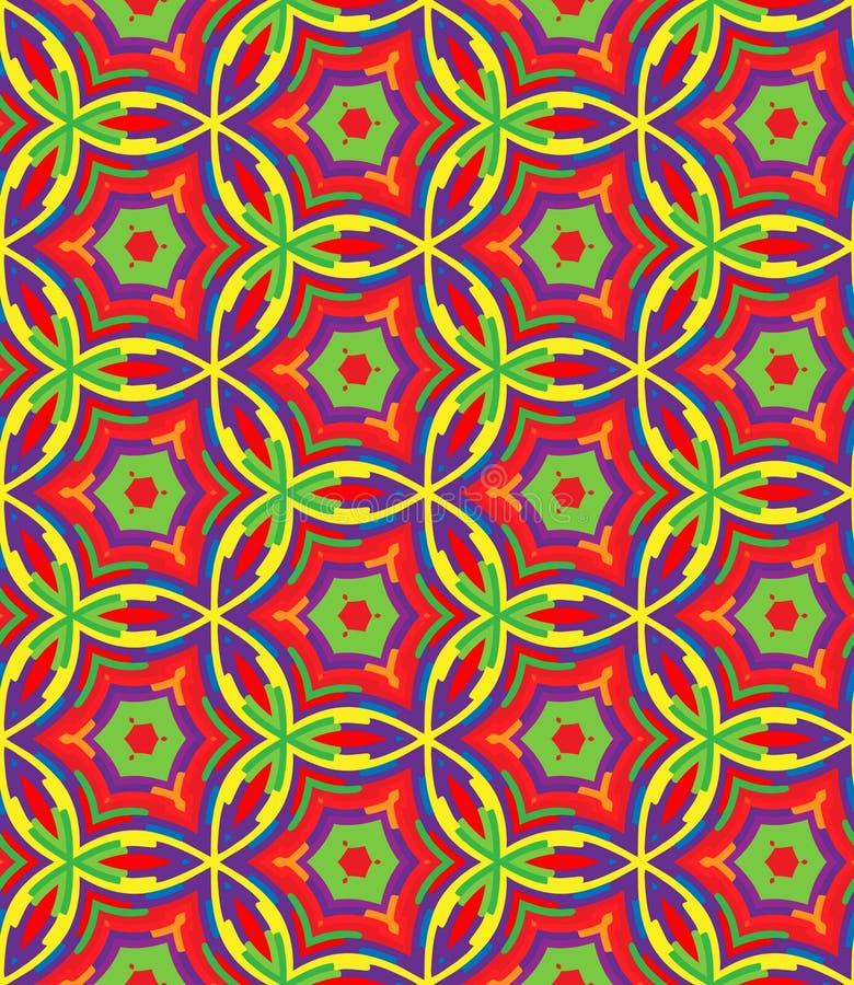 在重复的明亮的几何样式 织品印刷品 无缝的背景,马赛克装饰品,种族样式 库存例证