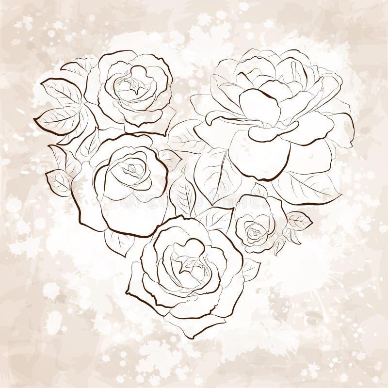在重点的形状的玫瑰。 葡萄酒样式 皇族释放例证