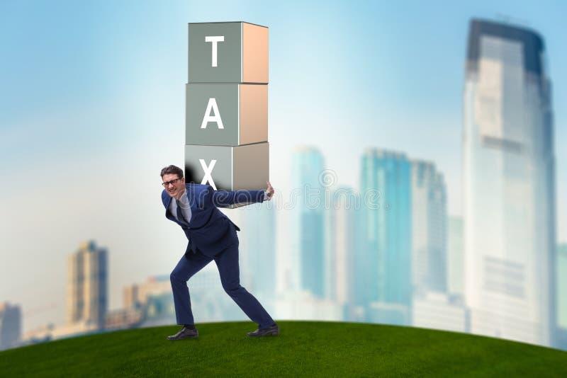 在重的税务负担下的商人 免版税库存图片