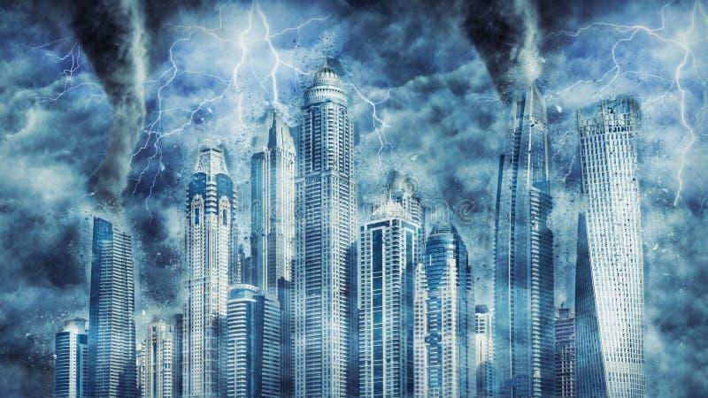 在重的风暴、雨和照明设备期间的迪拜大厦在迪拜 免版税图库摄影