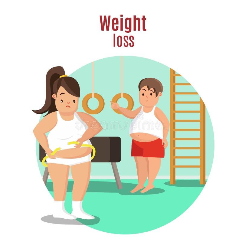 在重量白人妇女的美好的腹部概念损失 皇族释放例证