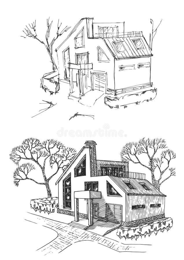 在重建前后的别墅 村庄被更新的和改善 传染媒介EPS 10 皇族释放例证