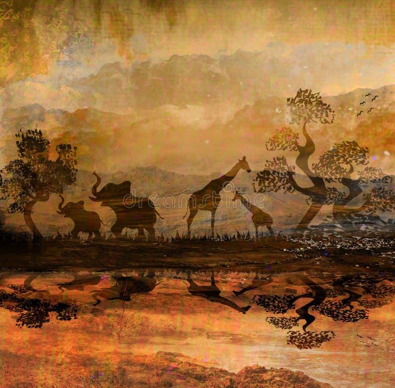 在野生动物非洲剪影的徒步旅行队 库存例证