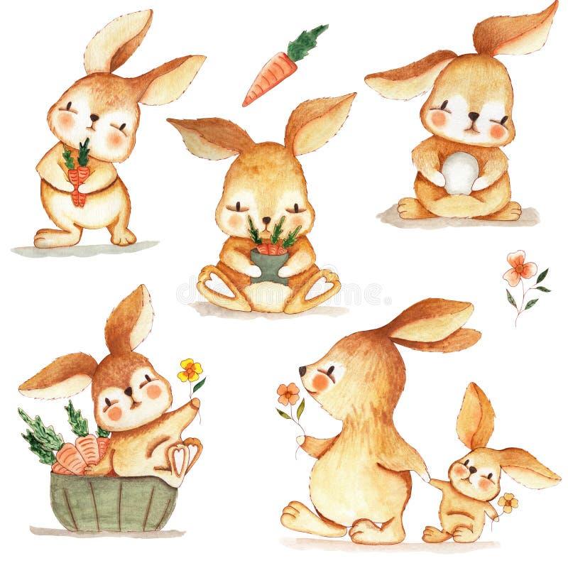 在野营的套的手拉的水彩兔宝宝6只兔子 织品、纸和打印的背景墙纸 向量例证