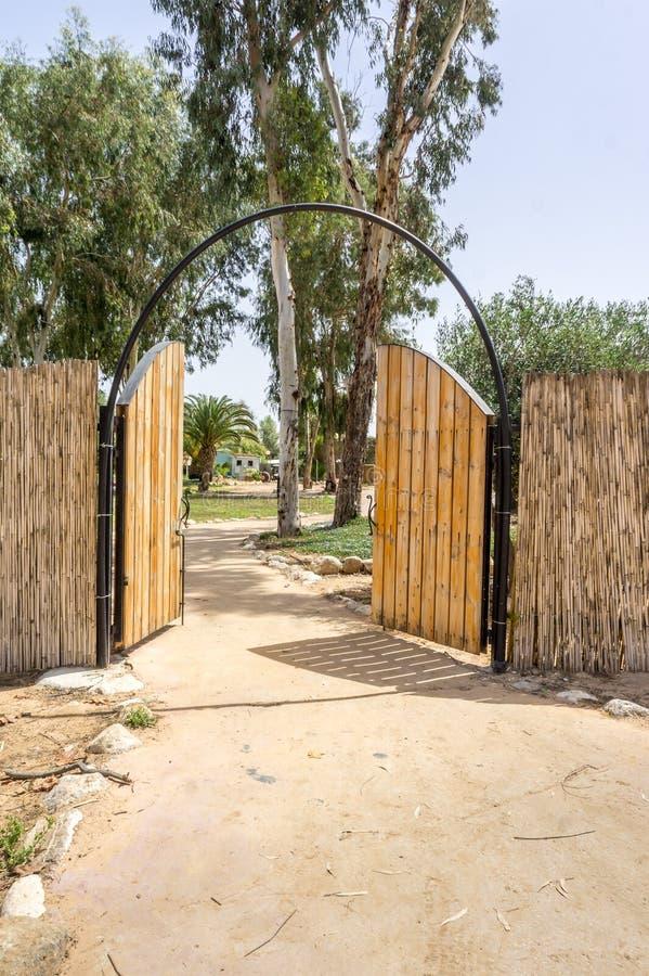 在野营的木双重门 免版税图库摄影