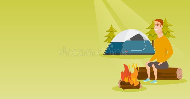 在野营的营火附近供以人员坐日志 库存例证