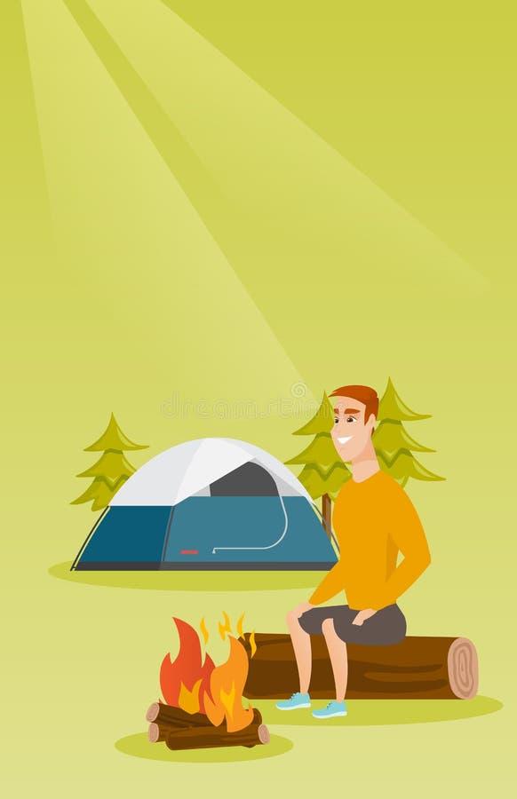 在野营的营火附近供以人员坐日志 向量例证