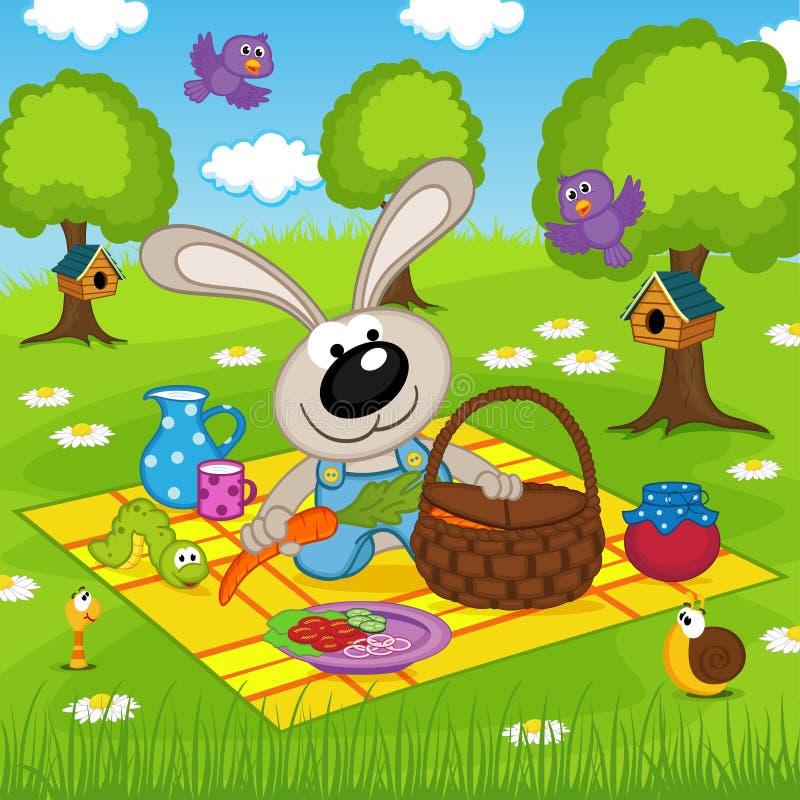 在野餐的兔子在公园 向量例证