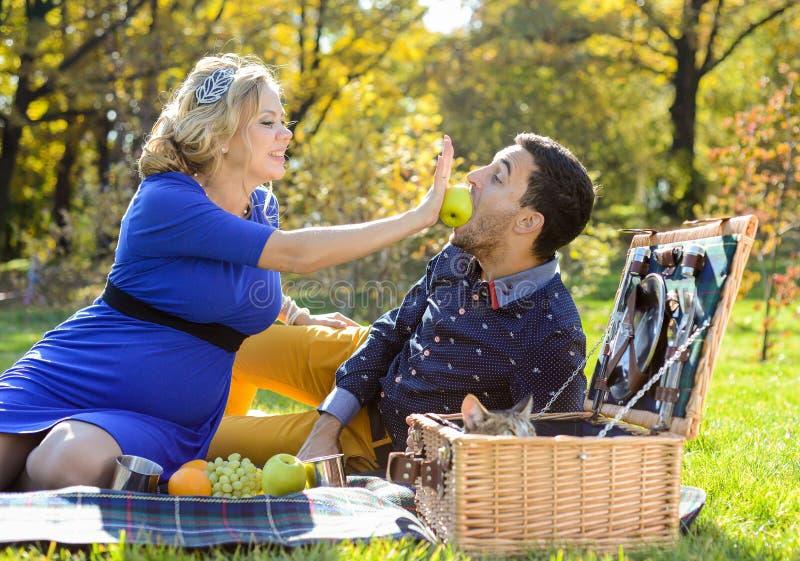在野餐的怀孕的愉快和微笑的夫妇与猫 免版税库存照片