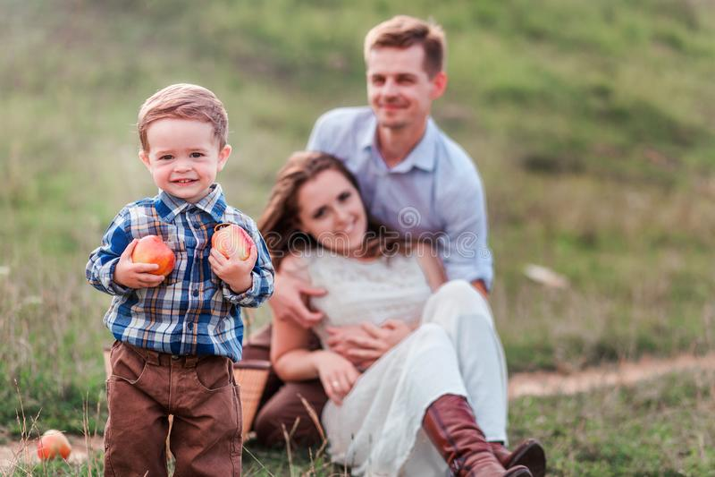 在野餐的愉快的家庭 小男孩用在前景的苹果 免版税库存照片