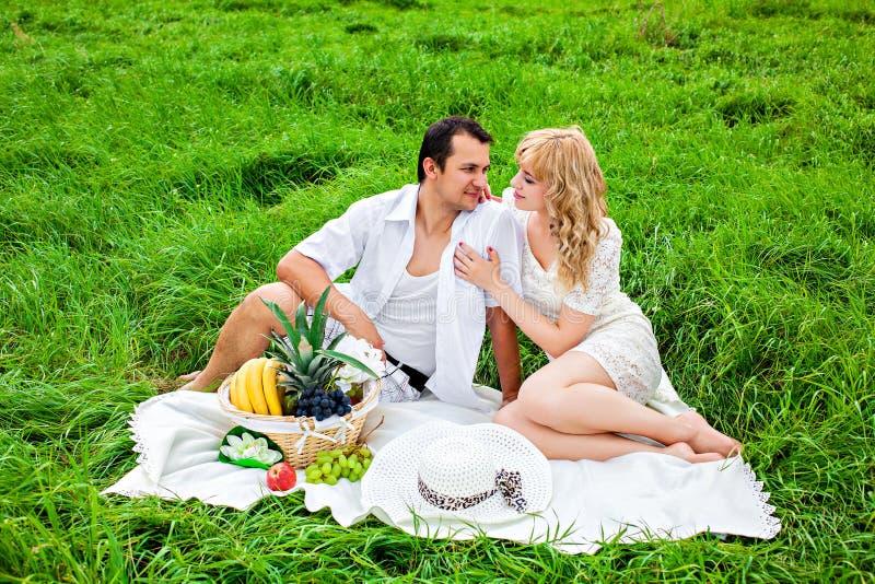 在野餐的年轻美好的夫妇 免版税库存图片