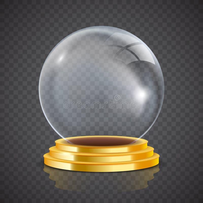 在金垫座的占卜者透明玻璃球 向量例证