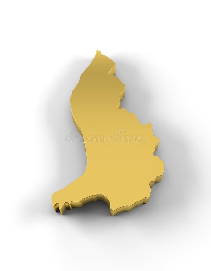 在金子和包括裁减路线的列支敦士登地图3D 库存例证