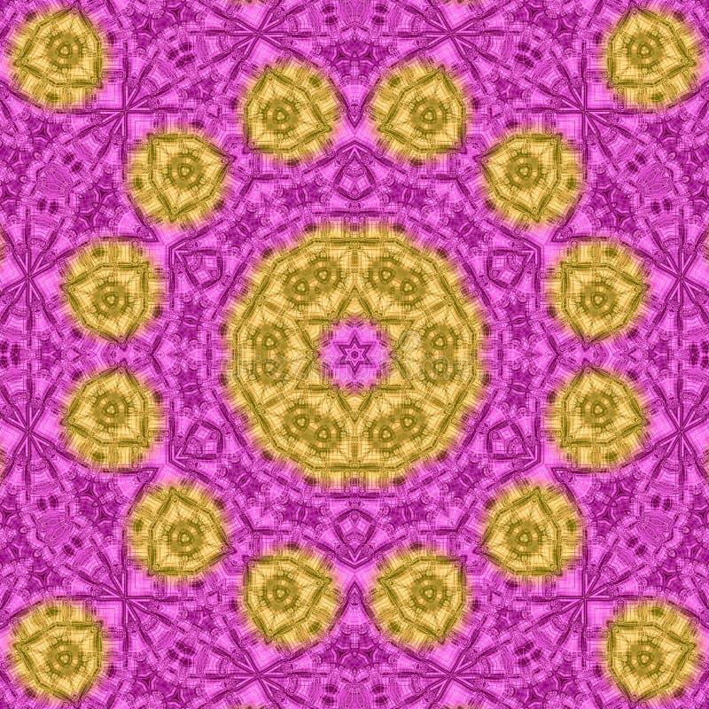 在金子和紫罗兰色颜色的抽象瓦片马赛克背景坛场 向量例证