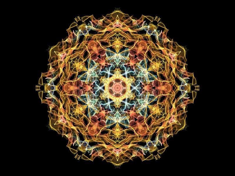在金子和蓝色的明亮的abstarct火焰坛场花或者 向量例证
