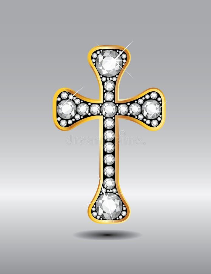 在金子的基督徒十字架与金刚石石头 库存例证
