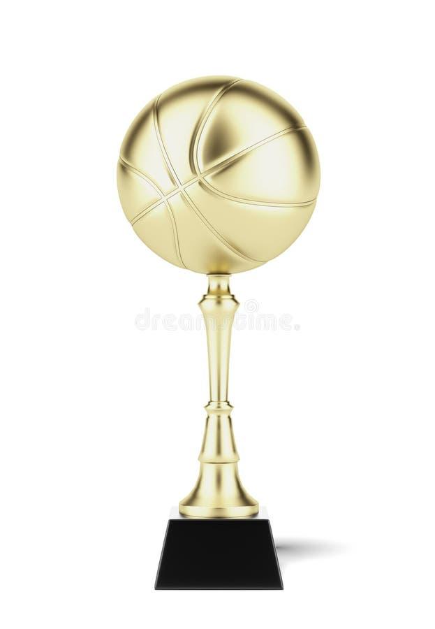 在金子的篮球战利品 库存例证