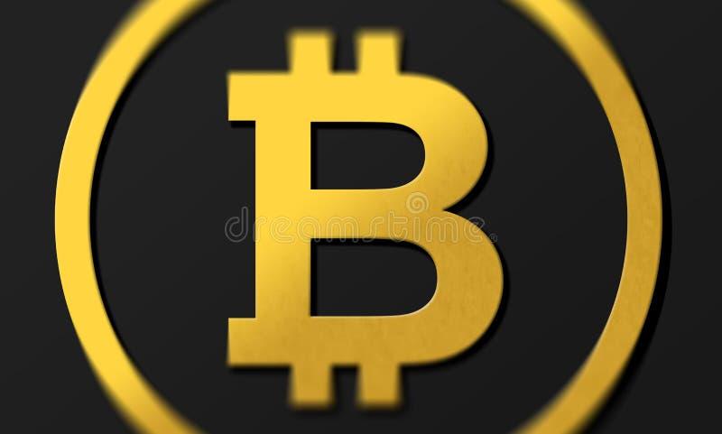 在金子的黑暗的背景3D硬币商标bitcoin与阴影 与阴影和高closs金黄B标志概念的翻译 向量例证