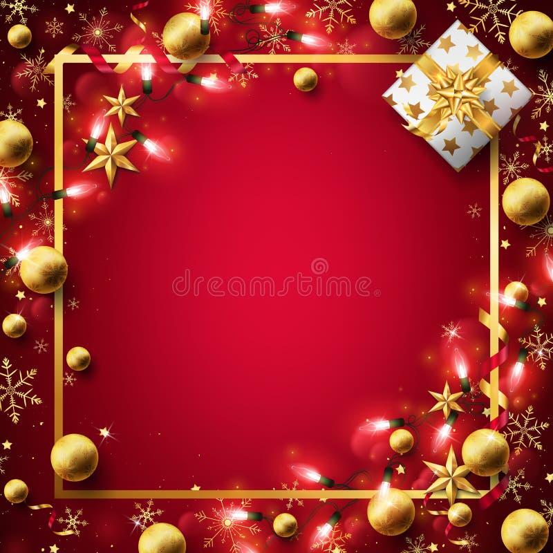 在金子装饰的红色圣诞节背景 皇族释放例证