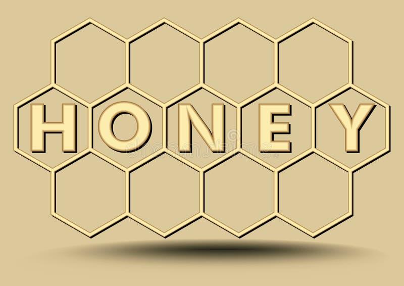 在金子设计的蜂蜜横幅,六角蜂窝,与蜂蜜题字的养蜂业横幅 免版税库存照片