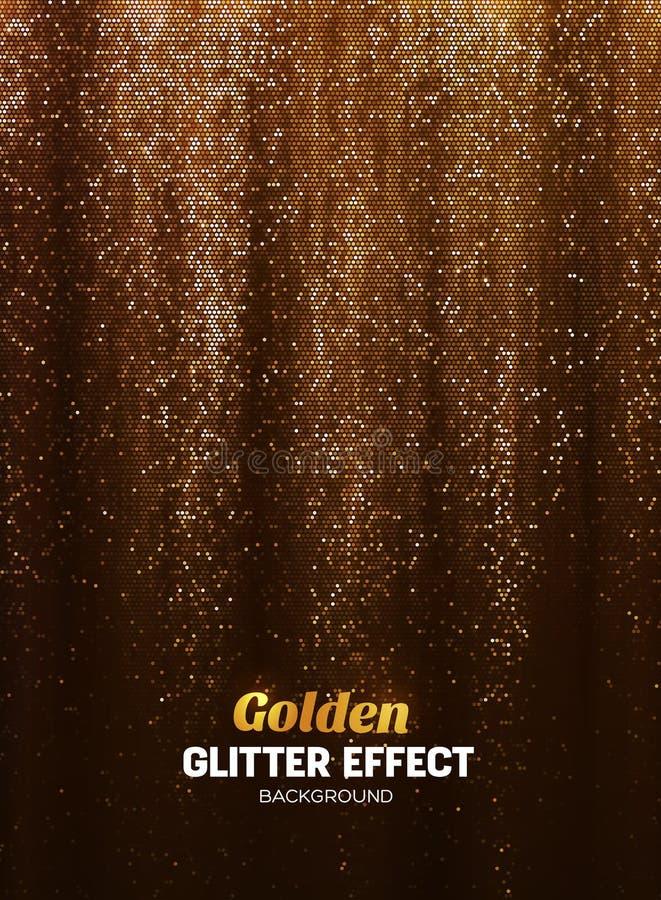 在金子颜色的不可思议的闪烁背景 与亮光元素的海报背景 向量例证