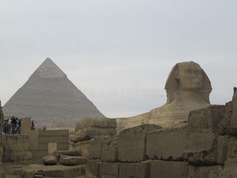 在金字塔前面的狮身人面象在开罗 吉萨棉金字塔复合体 免版税库存照片