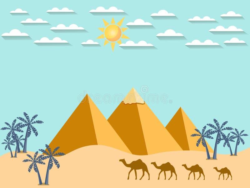 在金字塔的背景的埃及骆驼 皇族释放例证