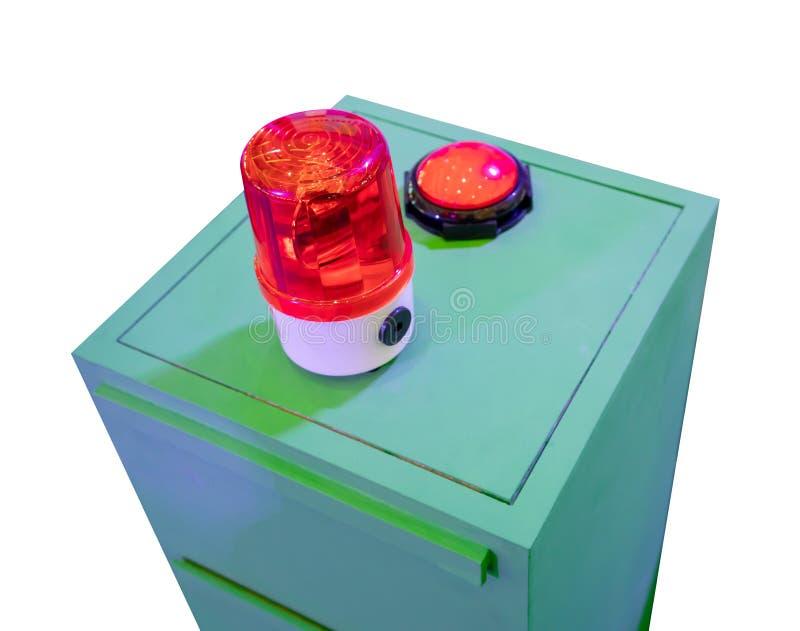 在金属内阁的红色警报器 安全的警告灯 库存图片