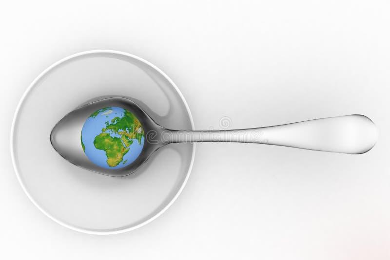 在金属匙子的蓝色地球 向量例证