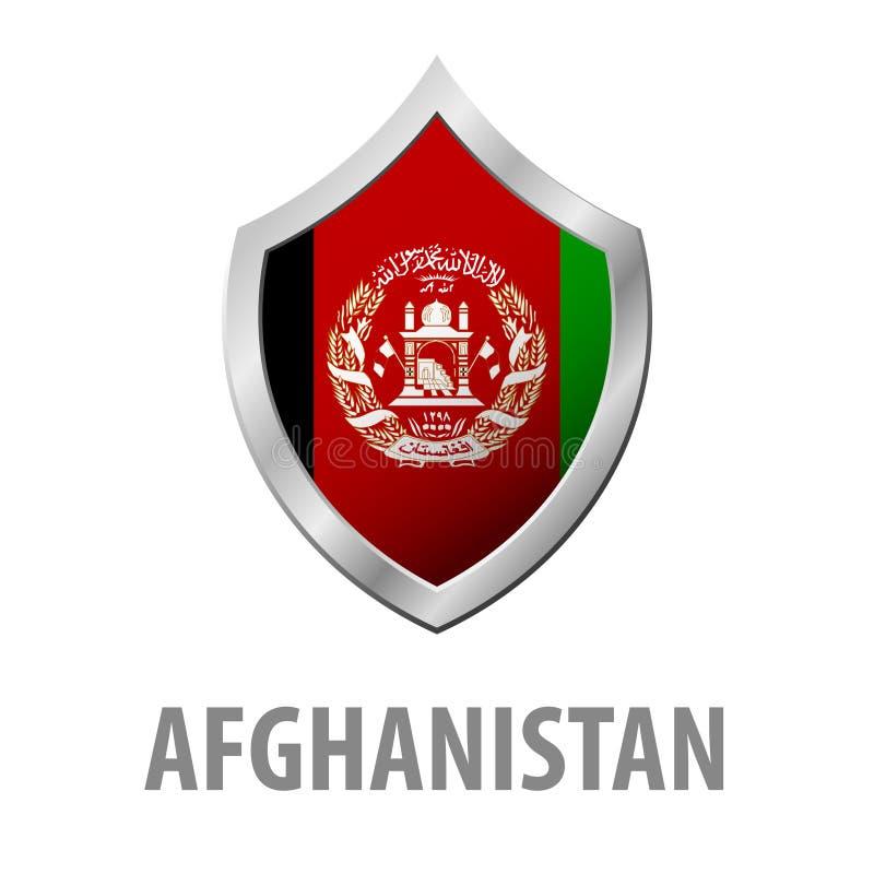 在金属发光的盾例证的阿富汗旗子 向量例证