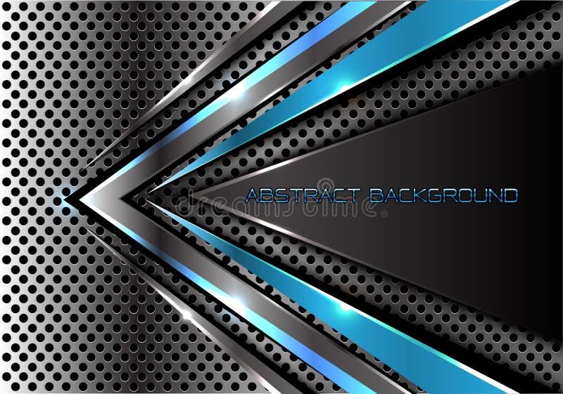 在金属圈子滤网设计现代未来派cretive背景纹理传染媒介的抽象蓝灰色箭头速度 库存例证
