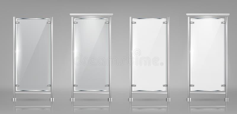 在金属机架的传染媒介玻璃广告横幅 皇族释放例证