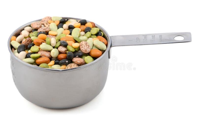 在金属杯子的混杂的干豆测量 库存图片