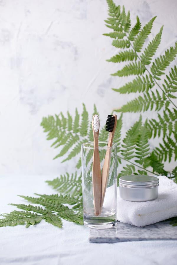 在金属瓶子,竹生物可分解,compostable牙刷的自创牙膏 在温泉设置的白色毛巾 绿色植物装饰 库存图片