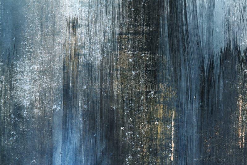 在金属的Grunge蓝色和生锈的坏的油漆 库存照片