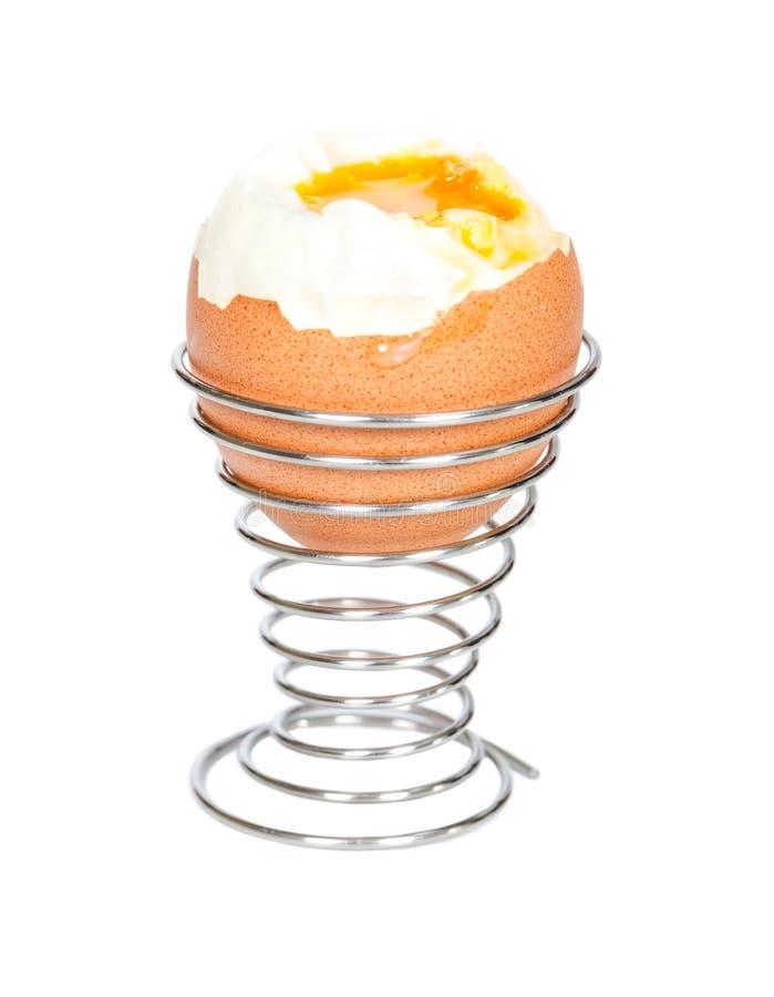 在金属立场的煮沸的鸡蛋 免版税库存照片