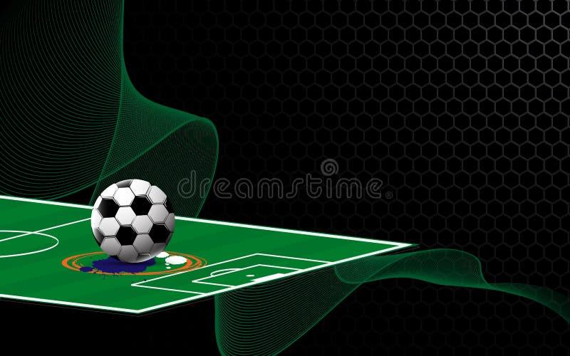 在金属纹理设计的抽象足球橄榄球场炫耀概念背景 库存例证