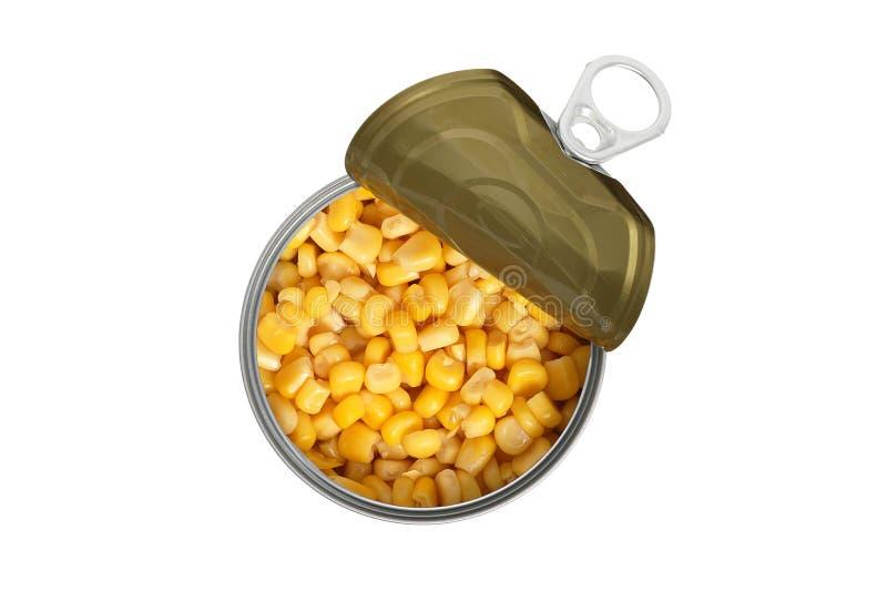 在金属罐头的甜玉米 库存图片