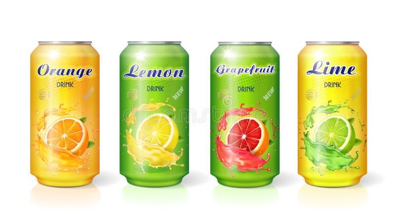 在金属罐头的软饮料柑橘柠檬橙色石灰葡萄柚味道 皇族释放例证