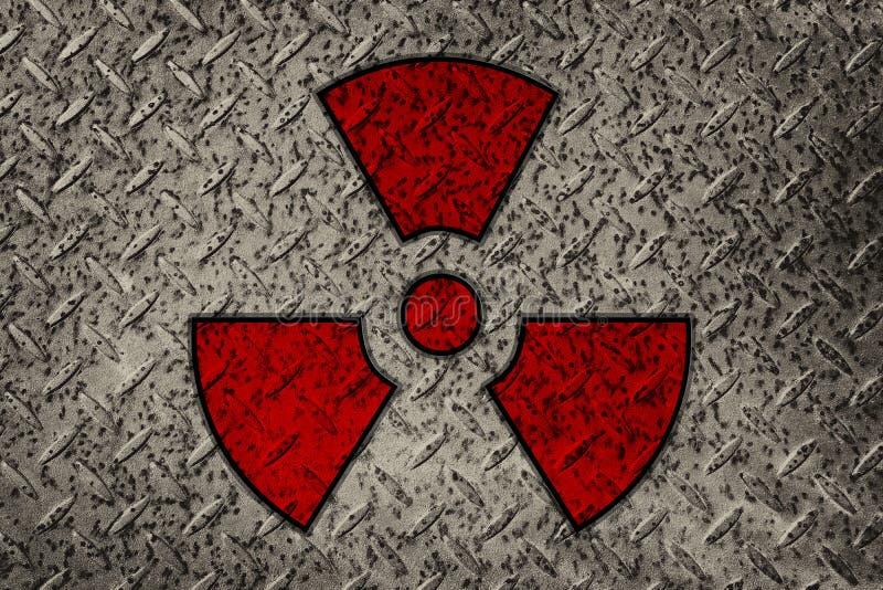 在金属背景的标志放射线 库存照片