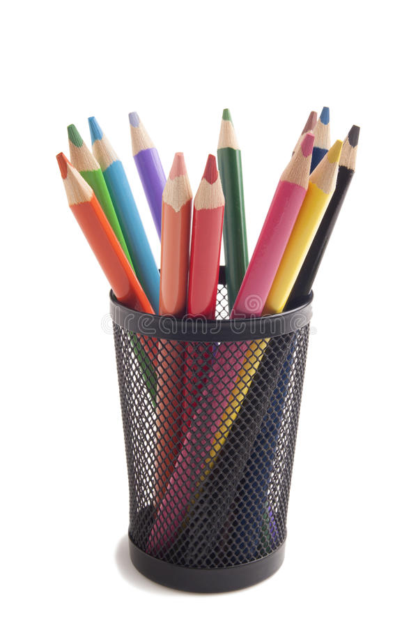 在金属花瓶的颜色铅笔 库存图片